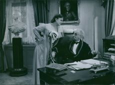 "Edith Erastoff and Gösta Ekman in a scene from ""Johan Ulfstjerna."""