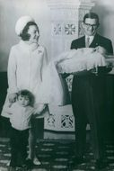 Princess Margriet of the Netherlands and Pieter van Vollenhoven with their children at baptism of their son, 1970.