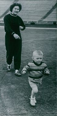 Nina Ponomareva pictured with her son while training.