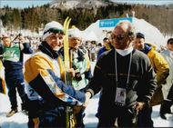 Niklas Jonson is congratulated by King Carl XVI Gustav to the OS Silver on 50 km cross country skiing.