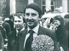 A photo of David Steel, M.P. British Politician with the people at the back- 1979