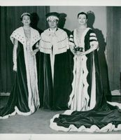 Queen Elizabeth II's Crown Procession 1953. Three costumes from Norman Hartnell's exhibition.