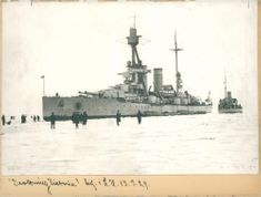 The coastal defence ship HSwMS Drottning Victoria (Queen Victoria) at the harbour. - 13 March 1929