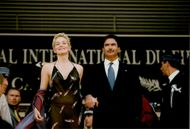 """Sharon Stone along with husband Phil Bronstein at the film premiere of """"The Mighty"""""""