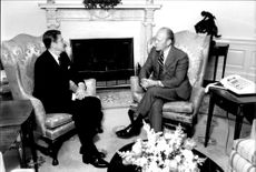 President Ronald Reagan meets Gerald Ford in the White House
