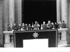 Pope Paul VI delivering his speech from the central balcony of St. Peter's Basilica at the Vatican.
