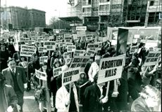 Anti-Abortion demonstrators on their march to whitehtll after the rally.