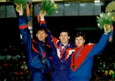 Medalists in 1000m speed skating: Igor Sjelesovskij, Dan Jansen and Sergei Klevtsjenja