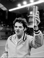 Tom Gorman with the cup after winning in Stockholm Open 1973