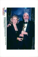 """Laren Bacall and Gregory Peck at the Palm Springs Film Festival. Bacall received the award """"Lifetime Achivement Award""""."""
