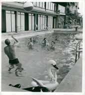 The opening of the pool at Hotel Foresta on Lidingö.