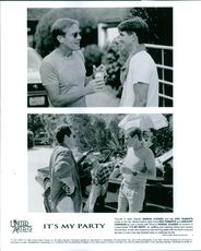 """Randal Kleiser, Eric Roberts and Gregory Harrison on the set of a 1996 American drama film, """"It's My Party."""""""