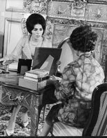 Princess Margaret talking to a woman,