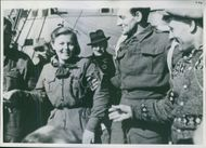 Allied Forces with Norwegian Girl guide land on Spitzbergen. 1941.