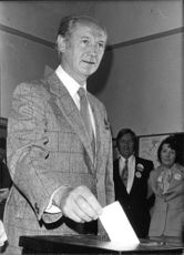 """John Mary """"Jack"""" Lynch casting his vote in general elections."""