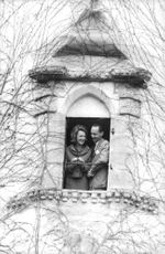 Princess Irene of Netherlands with Duke Carlos Hugo inside a tower. 1964.