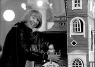 Writer Tove Jansson next to the Mumin House, which has taken several years to build for Tuulikki Pietila and Pentti Eistola