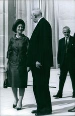 Charles de Gaulle talking to Mary wife of the former Prime Minister Harold Wilson. 1965