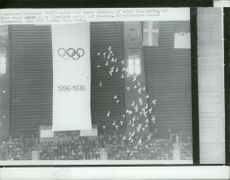 Pigeons are released over the Olympic Stadium - Olympic Games in Montreal in 1976