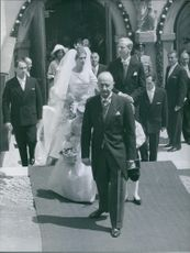 Princess Birgitta and the bridegroom Johan Georg von Hohenzollern during the wedding ceremony. June 1, 1961.