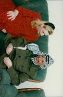 PLO leader Yassir Arafat with his pregnant wife Suha during a visit to Gaza
