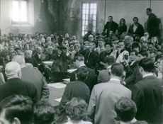 Alain Bombard in the press conference, 1965.