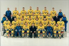 Ice Hockey: Three Crowns. Swedish World Cup squad at the collection prior to departure to the ice hockey World Cup in Switzerland
