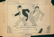 An illustrated cartoon of Stanley Baldwin and Pierre Laval.