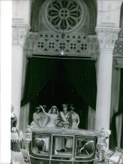 The Royal Wedding in Athens of Juan Carlos and  Princess Sophia of Greece and Denmark at the Church of Saint Dennis on 14 May 1962.