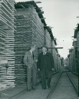 The directors Israelsson at Vika-Vimo sawmill a.b., father and son with the first names Johannes and Bertil in the garden