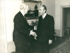 King Gustav VI Adolf receives Italy's Foreign Minister Aldo Moro at the Stockholm Palace