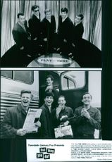 Top: Tom Hanks (left) portrays a record company executive who manages a rock band, The Wonders. Bottom: left to right; Steve Zahn, Johnathon Schaech, Tom Everett Scott, Liv Tyler and Ethan Embry in That Thing You Do!