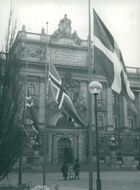 The Nordic flags of half-rod outside the Parliament House where the Nordic Council meets, due to the death of Prime Minister Hedtofts