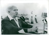 David Ben-Gurion speaks at a Mapai party meeting before the election