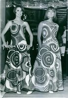 Two female models wearing designing clothes by Katja of Sweden.   1966