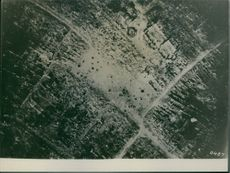 A aerial view of bombed city during First World War, 1918.