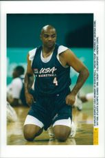 Basketball player Charles Barkley is training in Georgia Dome during the Olympic Games in Atlanta in 1996