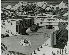 An architectural view of the future Olympic village in Makomanai district 7 km from central Sapporo.