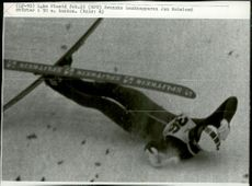 Swedish backhopper Jan Holmlund crashes in the 90m hill during the 1980 Winter Olympics