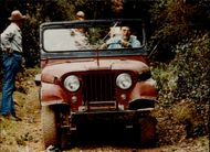 Ronald Reagan runs a jeep