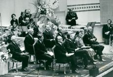 Tage Magnusson, Torsten Bengtsson, Karl Erik Eriksson, Olof Palme, Gunnar Lagergren, President Henry Allard, King Carl XVI Gustaf, Queen Silvia and Prince Bertil at the opening of the Riksdag