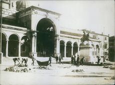 World War I German assets Italians looking up the square in Udine after Crover