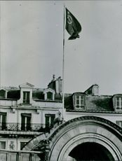 A building with a flag of Soviet Union, 1966.