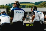 The Volvo team monitors the race and gives Rickard Rydell instructions via the pit board.