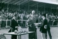 Queen Elizabeth II giving trophies to the contestants of a horse riding sport that happened in April 1968.