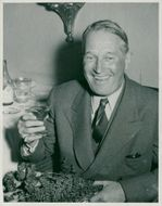 Maurice Chevalier at press reception at Castle