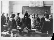 Pupils during a lesson in a classroom