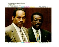 OJ Simpson stands with his attorney Johnnie Cochran.