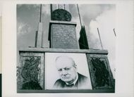 I.R. Churchill's famous words above his picture at the saluting base in the Tiergarten Bippa.