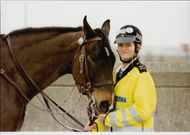 Riding female police Diana Mostyn with her horse Susannah Constantine